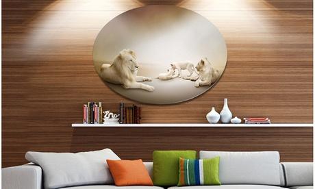 White Lion Family' Ultra Glossy Animal Oversized Metal Circle Wall Art 7ea07eec-7692-48e0-b4f6-efd278be0ad6