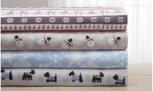 Clearance: Winter Nights Fleece Printed Sheet Set (3- or 4-Piece)