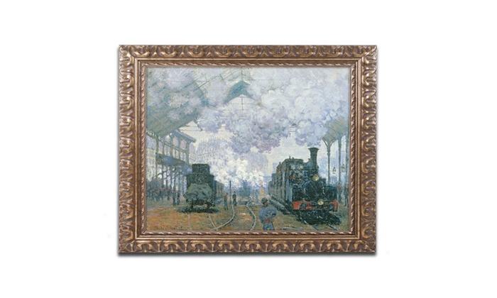 Claude monet 39 gare saint lazare arrival of a train 39 ornate framed art groupon - Office depot saint lazare ...