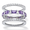 3.24 TCW CZ and Crystal 3-Pc. Stack Ring Set