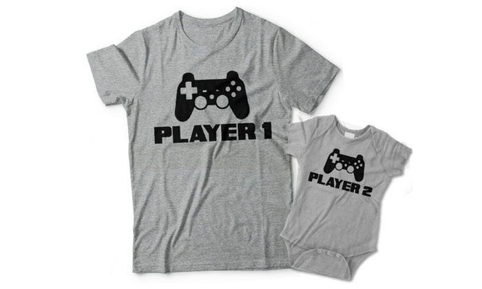 73cd1cdd2a85b Player 1 and Player 2 Matching Father Son Shirts