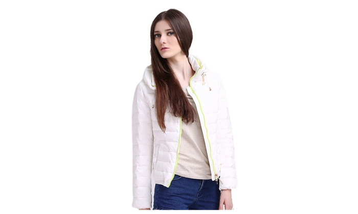 Women's Hoodie Front Zip Lightweight Short Down Coat