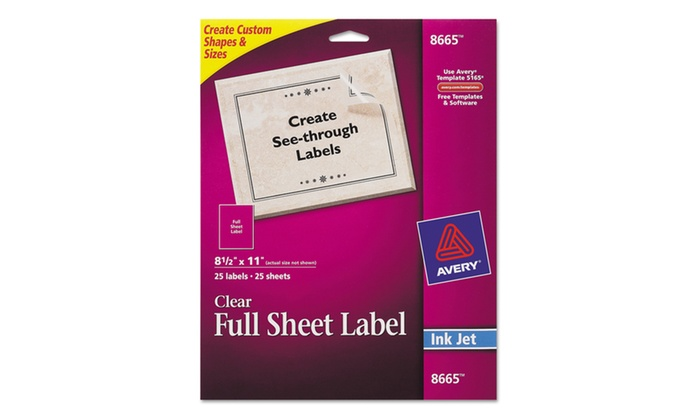 avery clear easy peel mailing labels inkjet 8 1 2 x 11 25 pack