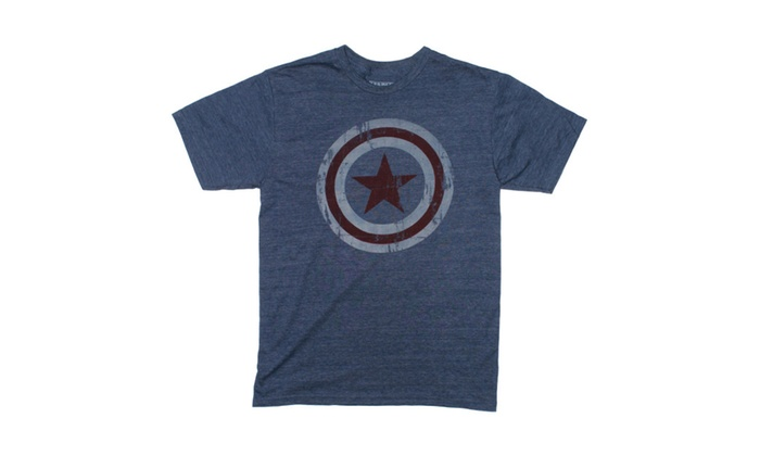 Groupon Stores: Captain America Distressed Shield Dark Denim Blue T-shirt