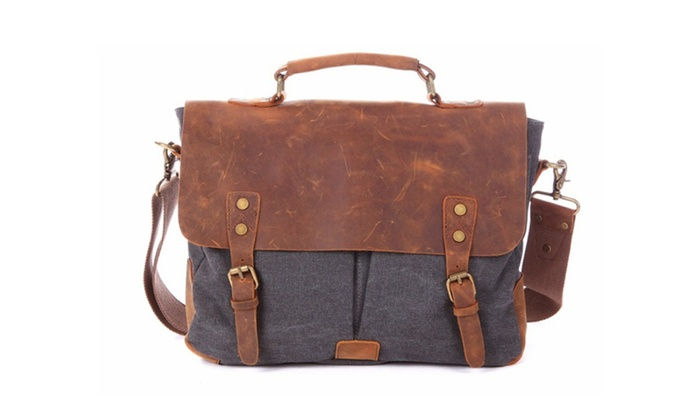 Men's Genuine Leather & Canvas Laptop Messenger Bag Briefcase