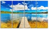 Lake with Pier Panorama Photography Metal Wall Art 48x28 4 Panels