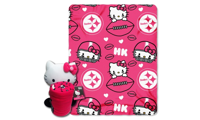 027 Steelers Hello Kitty  with Throw