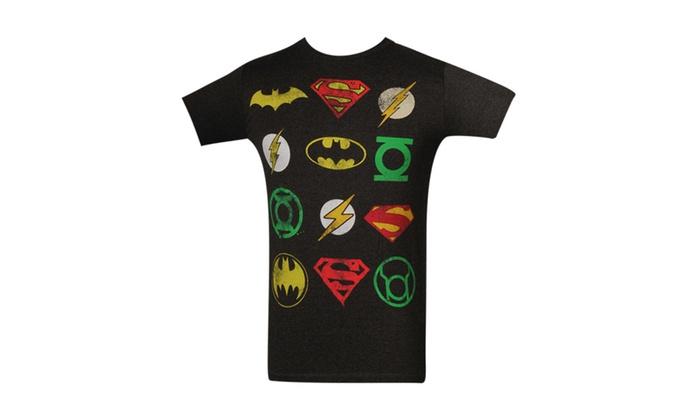 dc comics superheroes logos grey t shirt groupon