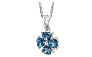 London Blue Topaz Pendant Necklace Sterling Silver Heart 2 Cts Sp8722