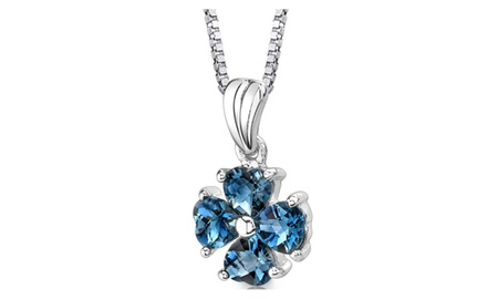 London Blue Topaz Pendant Necklace Sterling Silver Heart 2 Cts SP8722