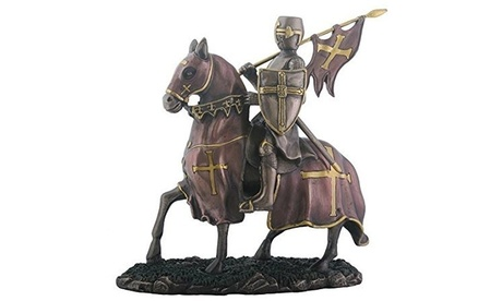 YTC SUMMIT 8593 Crusader Knight on Horse Decorative Figurine - Antique Bronze (Goods For The Home) photo