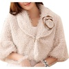 Women's Winter Warm Buttoned Flower Collar Fur Short Coats