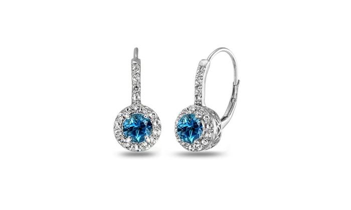 925 Sterling Silver 2ct TGW Blue Topaz 6mm Round Leverback Earrings