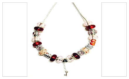 Pink and red murano glass beads with .925 silver love heart & key dangle charm beaded necklace