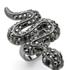 Crystal Snake Ring with Black Pave Crystals Over Black Ruthenium