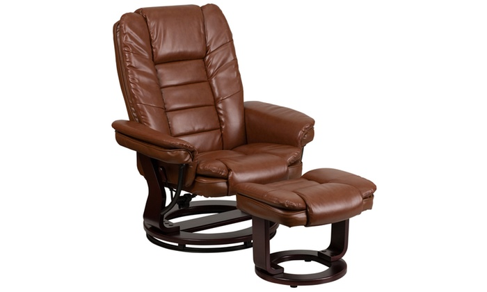 Fantastic Contemporary Leather Recliner And Ottoman With Swiveling Dailytribune Chair Design For Home Dailytribuneorg