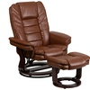 Contemporary Leather Recliner and Ottoman with Swiveling Mahogany Wood Base