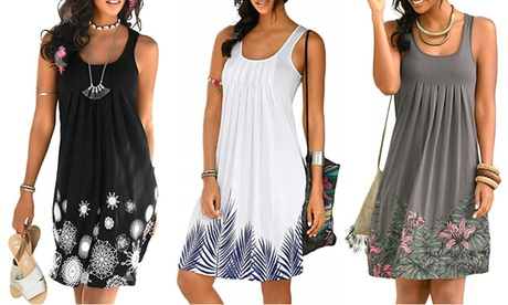 Women Summer Casual Spaghetti Strap Sundress Sleeveless Beach Dress