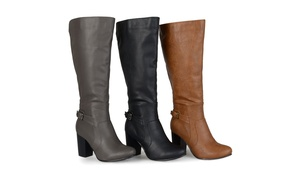 Journee Collection Womens Wide-Calf Buckle Detail High-Heeled Boots