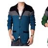 Men's Trendy Slim Color Block Contrast Long Sleeve V Neck Sweater