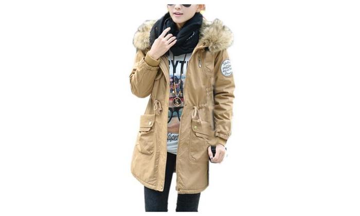 Women's Fur Collar Down Hooded Winter Coat Outerwear Jacket Parka