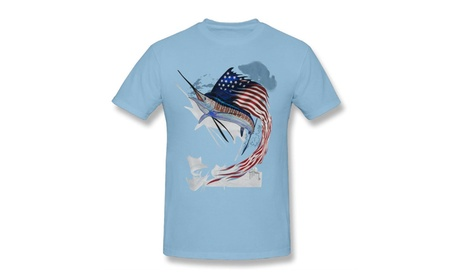 Michaa Men's Tee Guy Harvey Star Spangle Guy Tee Sky Blue Tshirts 97765f42-f498-4122-84e5-e61dcddb7314