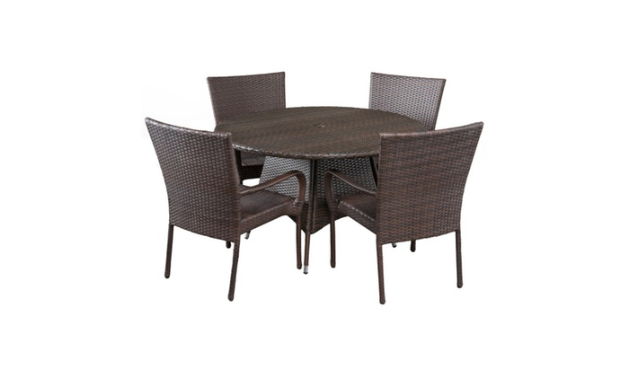 Home Decor Furniture Potter Wicker 5 Piece Round Patio Dining Set