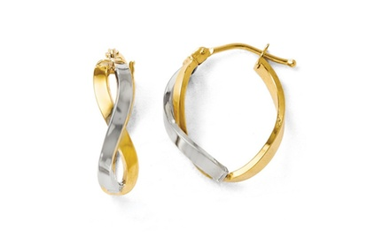 IceCarats Designer Jewelry Leslies 14K Two-tone Polished Hinged Hoop Earrings