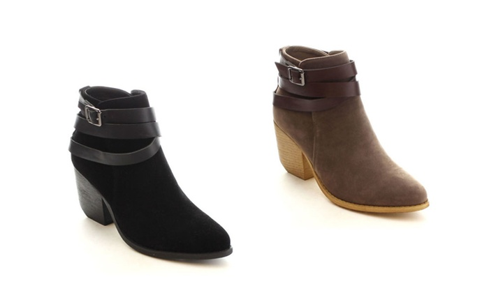 Mi.im Tess-03 Women's Criss Corss Strappy Chunky Ankle Booties