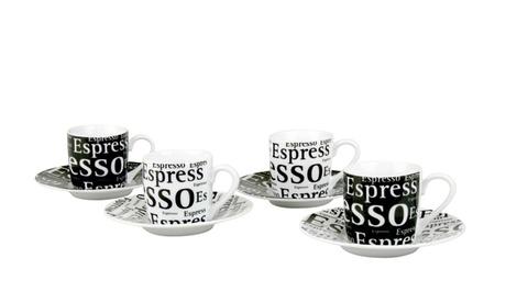 Set of 4 Espresso Cups & Saucers Café Latte Writing Black & White 17c589d2-6097-4c1d-b0ed-78ef796f7969