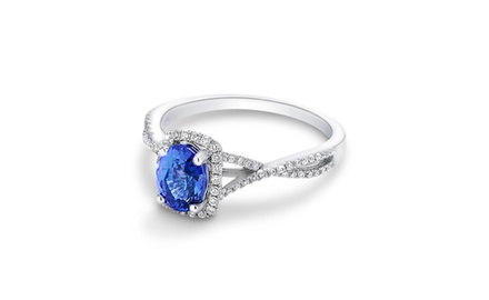 18k Diamond and Blue Sapphire Fashion Ring ( 1 1/2 ct tw)
