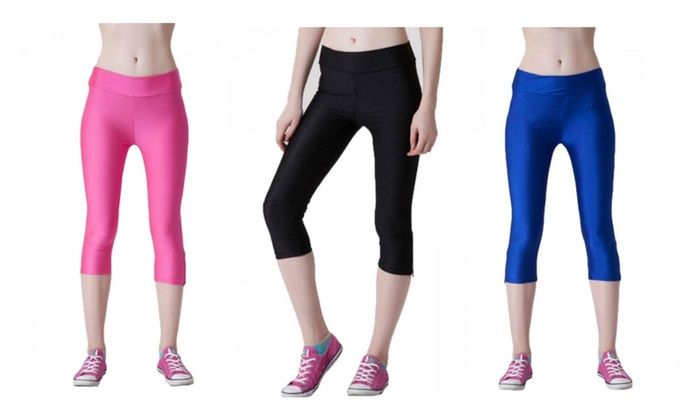 Leggings Yoga Work Out Fitness Wear Capri with Black Zippers one size
