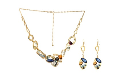 DOWNTON CHIC GOLD NECKLACE & EARRING SET
