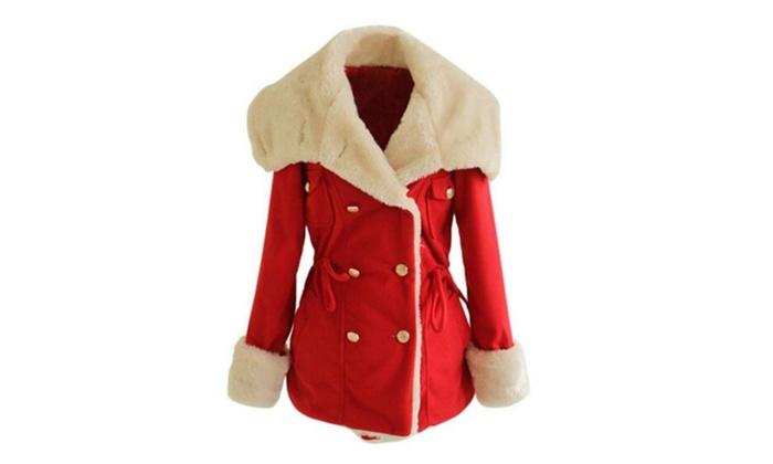 Women's Slim Fit Button Fur Cuff Trim Coat