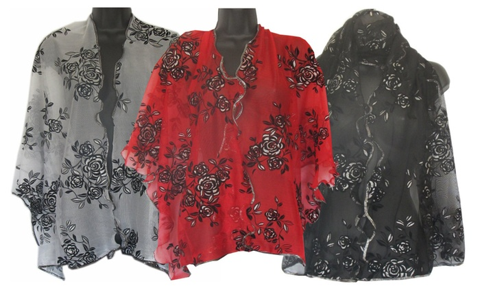 Black & Silver Roses Oblong Ruffled Scarf in Choice of Color