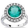 .30 TCW Round Aqua Simulated Spinel Halo Cocktail Ring