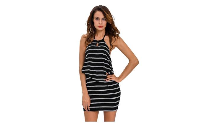 Women's Layered Ruffle Striped Black Halter Mini Dress