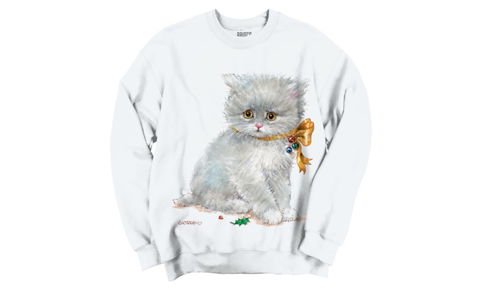 Cute White Christmas Kitten Bow Crewneck Sweatshirt