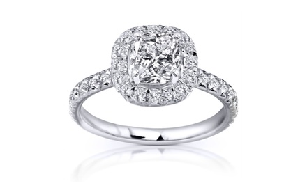 Diamond Engagement Ring 1 2/5 carats (ctw) in 14k White Gold (Certified)