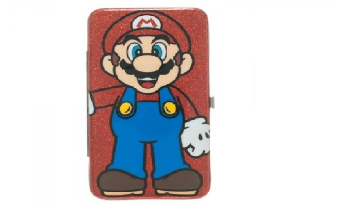 Nintendo Super Mario Red Glitter Hinge Wallet Clutch Purse