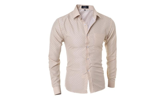 Men's Slim Beige Polka Dot Pattern Long Sleeves Dress Shirts