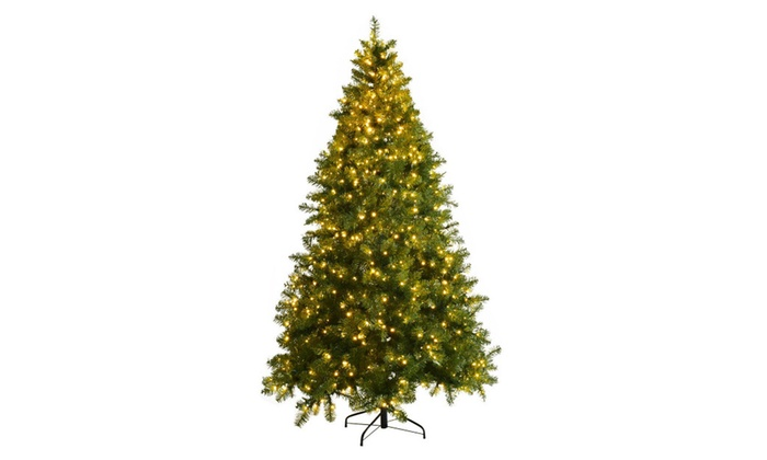 7ft pre lit artificial pvc christmas tree spruce hinged