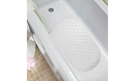 "Non Slip Oval Bubble 27"" x 15.5"" Vinyl Bath Tub Mat w/ Suction Cups 0aa0825a-440d-474f-b153-b374ba98a8ac"