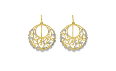 IceCarats Designer Jewelry 14K Two-Tone Diamond-Cut Scroll Circle Earrings