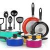 15-Piece Nonstick Cookware Set - Choice of Multicolor or Black Set