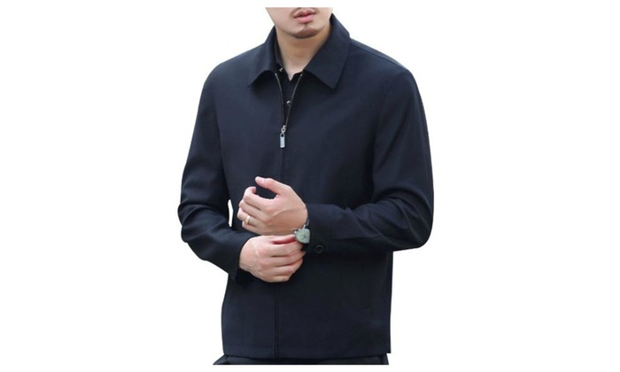 Men's Regular Fit Simple Casual Zip Closure Cotton Coats