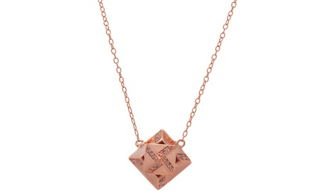 18K Rose Gold Sterling Silver CZ Diamond Shaped Pendant Cable Chain Necklace f8dd794d-d4df-47ce-b84f-a8bd8955bb90