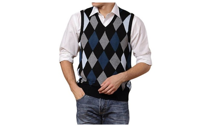 Men's Casual Retro Argyle Plaid Color Block Sweater Vest