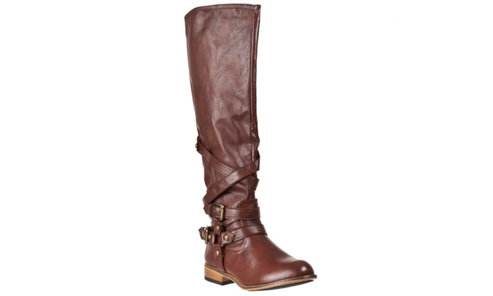 Riverberry 'Parksville' Knee-high Strap-detail Fashion Boots, Brown