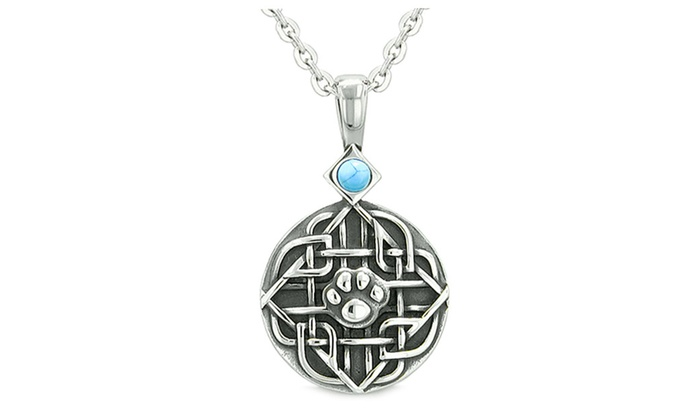 amulet celtic shield knot baby wolf paw protection pendant